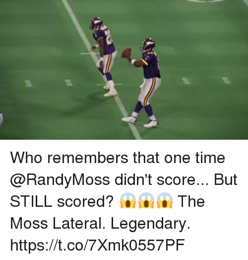 lateral: Who remembers that one time @RandyMoss didn't score... But STILL scored? 😱😱😱  The Moss Lateral. Legendary. https://t.co/7Xmk0557PF