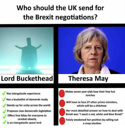 """Lord Buckethead: Who should the UK send for  the Brexit negotiations?  Lord Buckethead  Theresa May  Makes seven year-olds lose their free hot  Has intergalactic experience  lunches  Has a bucketlist of demands ready  Will have to face 27 other prime ministers,  Stands up for unity across the world  which will be a shitshow  Her most detailled answer on how to deal with  Proposes new democratic legislation  Brexit was """"I want a red, white and blue Brexit""""  offers free bikes for everyone to  combat obesity  Fataly weakened her position by calling out  ls an intergalactic space lord  a snap election"""