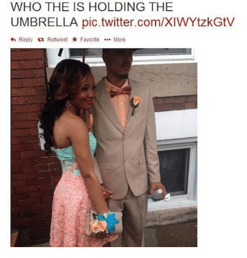 favoritism: WHO THE IS HOLDING THE  UMBRELLA pic.twitter.com/XIWYtzkGtV  <h Reply  ta Retweet  Favorite  More