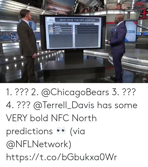 chicagobears: WHO WINS THE NFC NORTH?  2018 STANDINGS  BEARS  VIKINGS  PACKERS  LIONS 1. ??? 2. @ChicagoBears 3. ??? 4. ???  @Terrell_Davis has some VERY bold NFC North predictions 👀 (via @NFLNetwork) https://t.co/bGbukxa0Wr