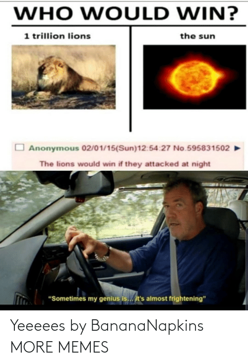 "Genius: WHO WOULD WIN?  1 trillion lions  the sun  Anonymous 02/01/15(Sun)12:54:27 No.595831502  The lions would win if they attacked at night  ""Sometimes my genius is... it's almost frightening"" Yeeeees by BananaNapkins MORE MEMES"