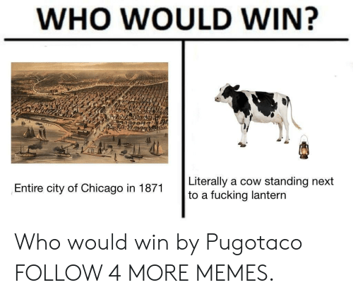 lantern: WHO WOULD WIN?  Literally  to a fucking lantern  a cow standing next  Entire city of Chicago in 1871 Who would win by Pugotaco FOLLOW 4 MORE MEMES.