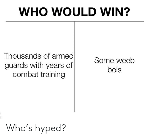 combat training: WHO WOULD WIN?  Thousands of armed  guards with years of  combat training  Some weeb  bois Who's hyped?