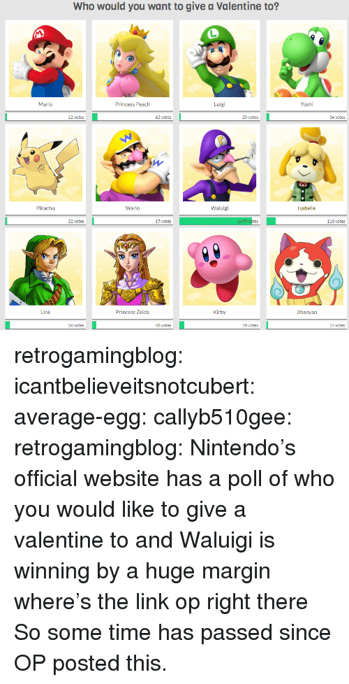Andrew Bogut, Nintendo, and Pikachu: Who would you want to give a Valentine to?  Yoshi  Luigi  Princess Peach  Mario  oates20 ste  34 ctes  20 votes  62 votes  Waluigi  Wario  Pikachu  110 votes  17 votes  22 votes  Jibanyan  Kirby  Princess Zelda  l ink  59 votes  48 votes  56 votes retrogamingblog:  icantbelieveitsnotcubert:  average-egg:  callyb510gee:  retrogamingblog: Nintendo's official website has a poll of who you would like to give a valentine to and Waluigi is winning by a huge margin where's the link op  right there  So some time has passed since OP posted this.