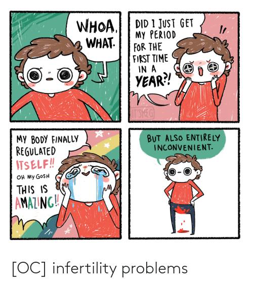 my body: WHOA.  WHAT.  DID 1 JUST GET  My PERIOD  FOR THE  FIRST TIME  IN A  YEAR?!  IT'SMEG  MY BODY FINALLY  REGULATED  ITSELF!!  BUT ALSO ENTIRELY  INCONVENIENT.  OH MY GOSH  THIS IS  AMAZING!! [OC] infertility problems