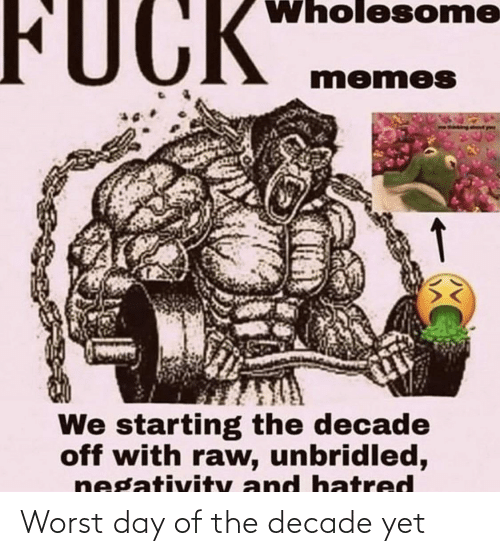 Negativity: Wholesome  FUCK  momes  We starting the decade  off with raw, unbridled,  negativity and hatred Worst day of the decade yet
