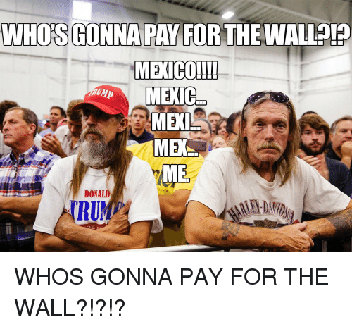 Politics, The Wall, and For: WHO'S GONNA PAY FOR THEWALLAT?  MEKI  DONALD  TRU  El