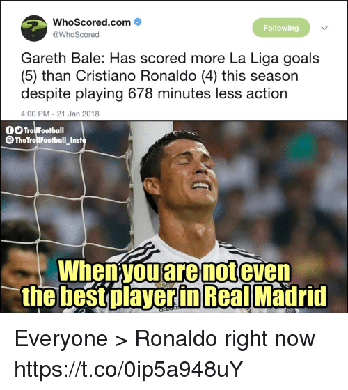 Trol: WhoScored.com  @WhoScored  Following  Gareth Bale: Has scored more La Liga goals  (5) than Cristiano Ronaldo (4) this season  despite playing 678 minutes less action  4:00 PM - 21 Jan 2018  O Trol Football  TheTrollFootball_Inst  When you are not even  the best olaverin Real Madrid Everyone > Ronaldo right now https://t.co/0ip5a948uY