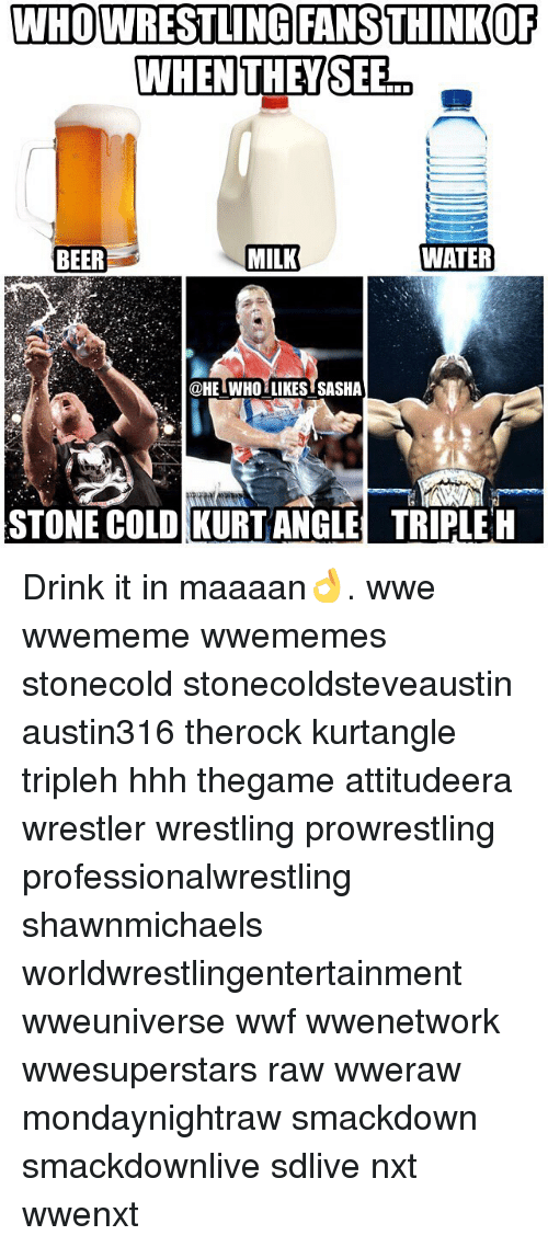 Beer, Memes, and Wrestling: WHOWRESTLINGIFANSTHINKOF  WHENTHEYSEB  BEER  MILK  WATER  @HE  HE WHO LIKES SASHA  STONE COLD KURTANGLETRIPLE H Drink it in maaaan👌. wwe wwememe wwememes stonecold stonecoldsteveaustin austin316 therock kurtangle tripleh hhh thegame attitudeera wrestler wrestling prowrestling professionalwrestling shawnmichaels worldwrestlingentertainment wweuniverse wwf wwenetwork wwesuperstars raw wweraw mondaynightraw smackdown smackdownlive sdlive nxt wwenxt