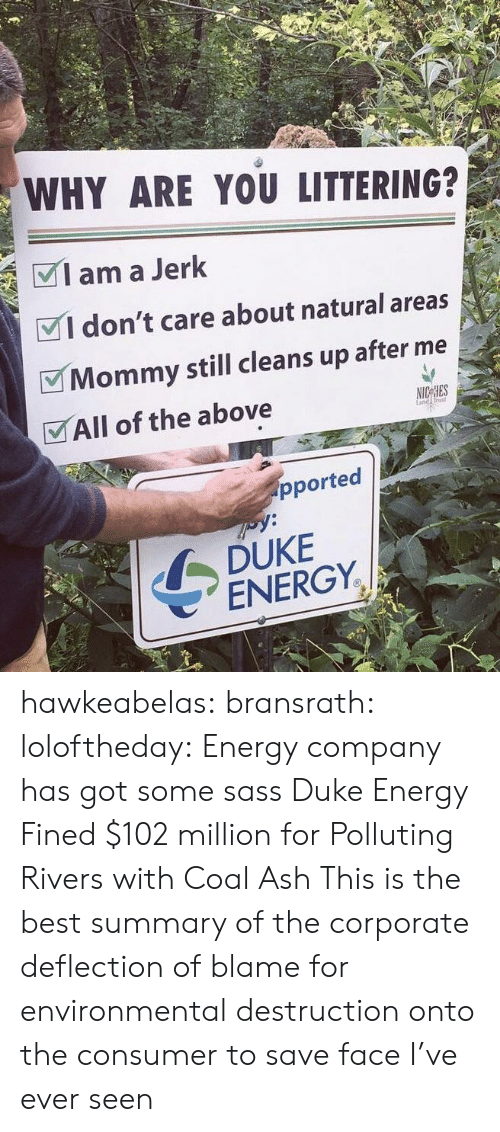 Ash, Energy, and Tumblr: WHY ARE YOU LITTERING?  Iama Jerk  VI don't care about natural areas  Mommy still cleans up after me  VAll of the above  rust  pported  DUKE  ENERGY. hawkeabelas:  bransrath:  loloftheday: Energy company has got some sass Duke Energy Fined $102 million for Polluting Rivers with Coal Ash  This is the best summary of the corporate deflection of blame for environmental destruction onto the consumer to save face I've ever seen