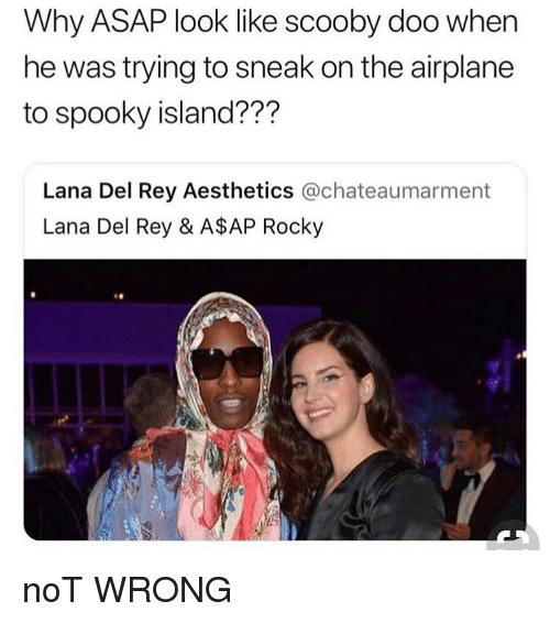 A$AP Rocky, Lana Del Rey, and Memes: Why ASAP look like scooby doo when  he was trying to sneak on the airplane  to spooky island???  Lana Del Rey Aesthetics @chateaumarment  Lana Del Rey & A$AP Rocky noT WRONG