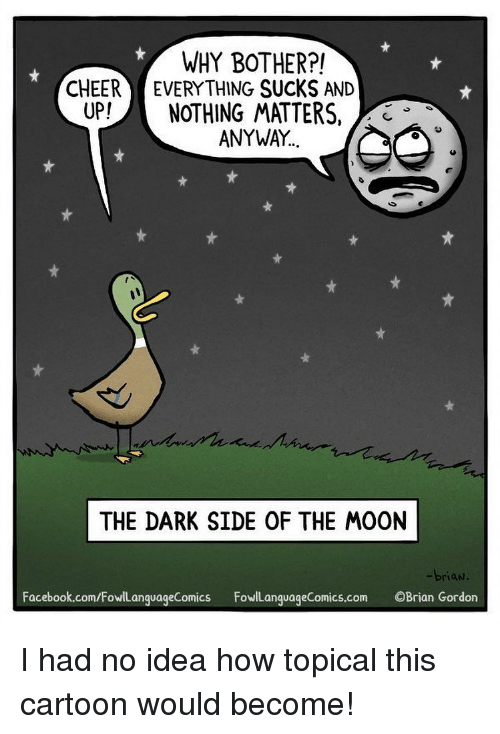 Dark Side of the Moon, Facebook, and Memes: WHY BOTHER?!  CHEER EVERYTHING SUCKS AND  UP!NOTHING MATTERS,  ANYWAY.  THE DARK SIDE OF THE MOON  -brian  Facebook.com/FowlanquageComics FowiLanguageComics.com OBrian Gordon I had no idea how topical this cartoon would become!