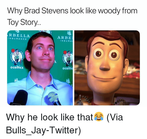 Basketball, Jay, and Nba: Why Brad Stevens look like woody from  Toy Story..  RBELLA  INSURANCE  ARBE  INSURA  eceltics  @celti Why he look like that😂 (Via ‪Bulls_Jay-Twitter)