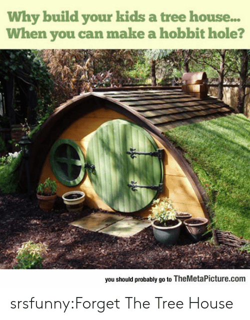 Hobbit: Why build your kids a tree house...  When you can make a hobbit hole?  you should probably go to TheMetaPicture.com srsfunny:Forget The Tree House
