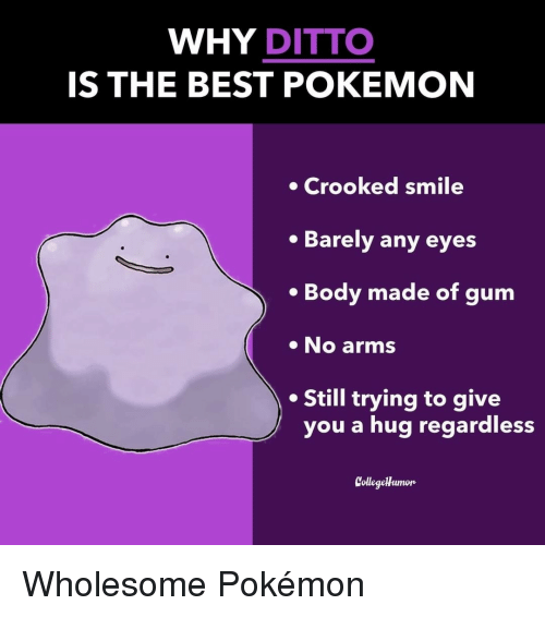 ditto: WHY DITTO  IS THE BEST POKEMON  Crooked smile  Barely any eyes  . Body made of gum  No arms  Still trying to give  you a hug regardless  CollegeHumon Wholesome Pokémon