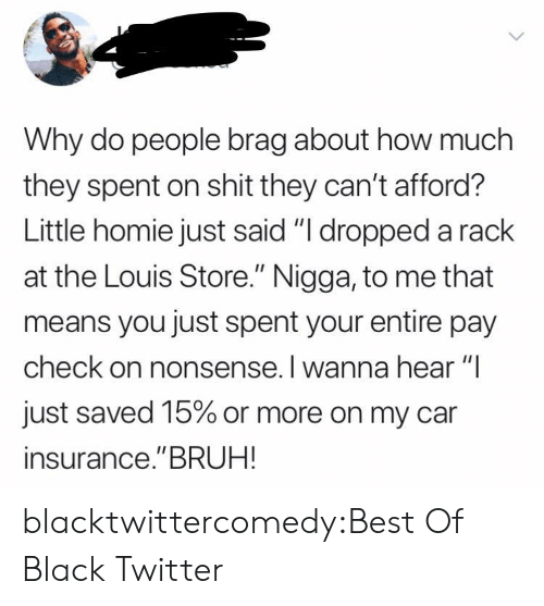 """Nonsense: Why do people brag about how much  they spent on shit they can't afford?  Little homie just said """"I dropped a rack  at the Louis Store."""" Nigga, to me that  means you just spent your entire pay  check on nonsense. I wanna hear """"I  just saved 15% or more on my car  insurance.""""BRUH! blacktwittercomedy:Best Of Black Twitter"""