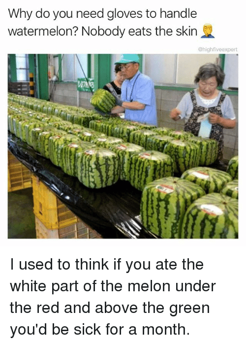 Watermelone: Why do you need gloves to handle  watermelon? Nobody eats the skin  @highfiveexpert I used to think if you ate the white part of the melon under the red and above the green you'd be sick for a month.