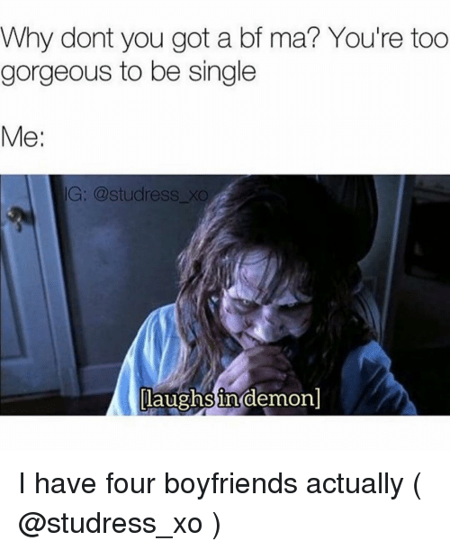 Gorgeous, Girl Memes, and Single: Why dont you got a bf ma? You're too  gorgeous to be single  Me:  G: @studress xO  laughs in demon]  0 I have four boyfriends actually ( @studress_xo )