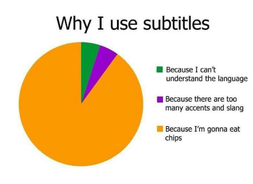 Memes, 🤖, and Chips: Why I use subtitles  Because I can't  understand the language  Because there are too  many accents and slang  Because I'm gonna eat  chips