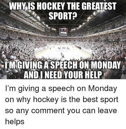 Hockey, Memes, and Best: WHY IS HOCKEY THE GREATEST  SPORT?  IMGIVINGA SPEECHON MONDAY  ANDINEED YOUR HELP I'm giving a speech on Monday on why hockey is the best sport so any comment you can leave helps