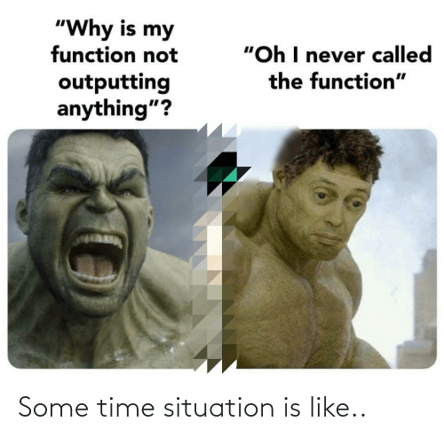 "function: ""Why is my  function not  ""Oh I never called  the function""  outputting  anything""? Some time situation is like.."