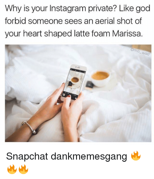 heart shape: Why is your Instagram private? Like god  forbid someone sees an aerial shot of  your heart shaped latte foam Marissa. Snapchat dankmemesgang 🔥🔥🔥