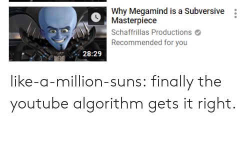 algorithm: Why Megamind is a Subversive  Masterpiece  Schaffrillas Productions  Recommended for you  28:29 like-a-million-suns:  finally the youtube algorithm gets it right.