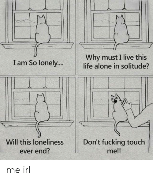 Being Alone, Fucking, and Life: Why must I live this  life alone in solitude?  I am So lonely....  Will this loneliness  Don't fucking touch  me!!  ever end? me irl