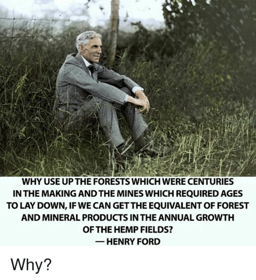 henri: WHY USE UPTHE FORESTS WHICH WERE CENTURIES  IN THE MAKING ANDTHE MINES WHICH REQUIRED AGES  TO LAY DOWN, IF WE CAN GETTHEEQUIVALENT OF FOREST  AND MINERAL PRODUCTS IN THE ANNUAL GROWTH  OF THE HEMP FIELDS?  HENRY FORD Why?