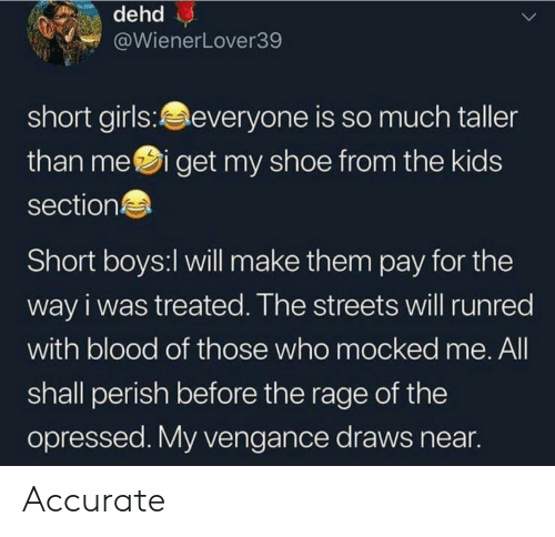 the rage: WienerLover39  short girls:everyone is so much taller  than mei get my shoe from the kids  section  Short boys:l will make them pay for the  way i was treated. The streets will runred  with blood of those who mocked me. All  shall perish before the rage of the  opressed. My vengance draws near Accurate