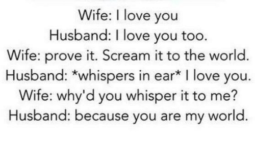 Wife I Love You Husband Love You Too Wife Prove It Scream It To The