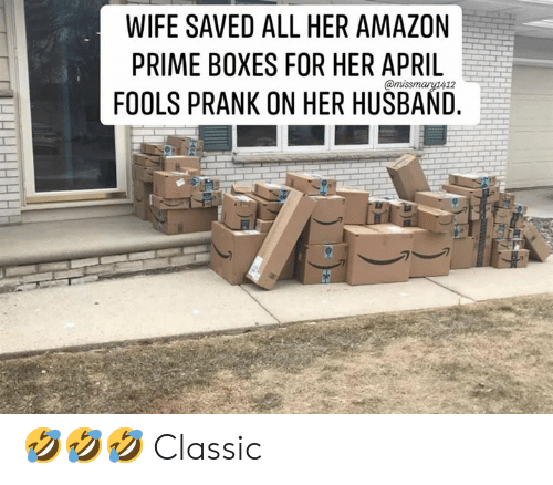 Amazon Prime: WIFE SAVED ALL HER AMAZON  PRIME BOXES FOR HER APRIL  FOOLS PRANK ON HER HUSBAND. 🤣🤣🤣 Classic