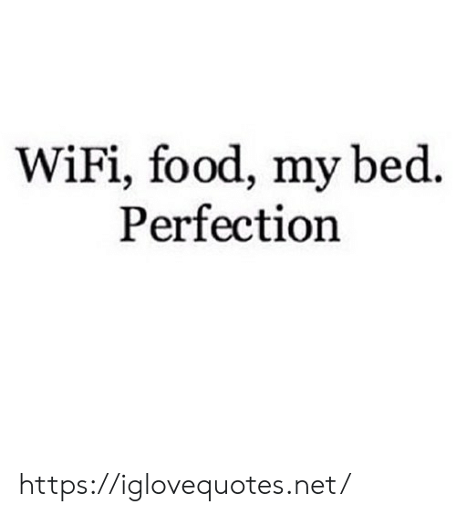 Food, Wifi, and Net: WiFi, food, my bed  Perfection https://iglovequotes.net/