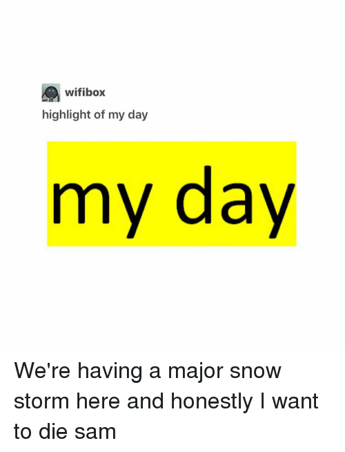 snow storm: wifibox  highlight of my day  my day We're having a major snow storm here and honestly I want to die ≪sam≫