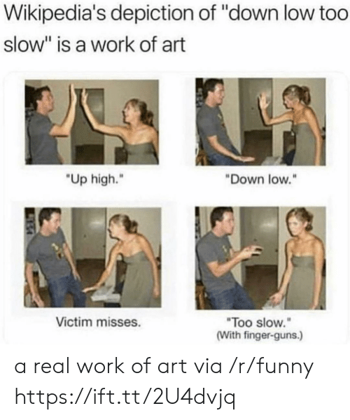 """Funny, Guns, and Work: Wikipedia's depiction of """"down low too  slow"""" is a work of art  """"Up high.""""  Down low.""""  Too slow.  (With finger-guns.)  Victim misses. a real work of art via /r/funny https://ift.tt/2U4dvjq"""