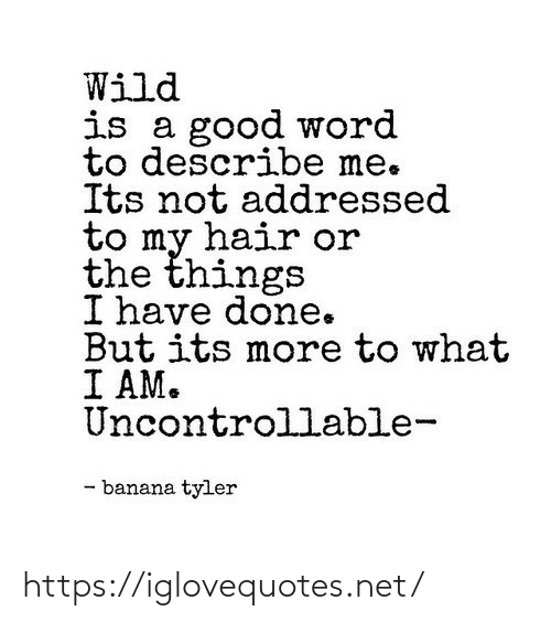 Its Not: Wild  is a good word  to describe me.  Its not addressed  to my hair or  the things  I have done.  But its more to what  I AM.  Uncontrollable-  - banana tyler https://iglovequotes.net/