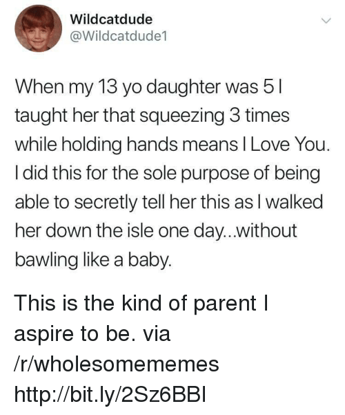Squeezing: Wildcatdude  @Wildcatdude1  When my 13 yo daughter was 5  taught her that squeezing 3 times  while holding hands means I Love You.  I did this for the sole purpose of being  able to secretly tell her this as l walked  her down the isle one day...without  bawling like a baby. This is the kind of parent I aspire to be. via /r/wholesomememes http://bit.ly/2Sz6BBI