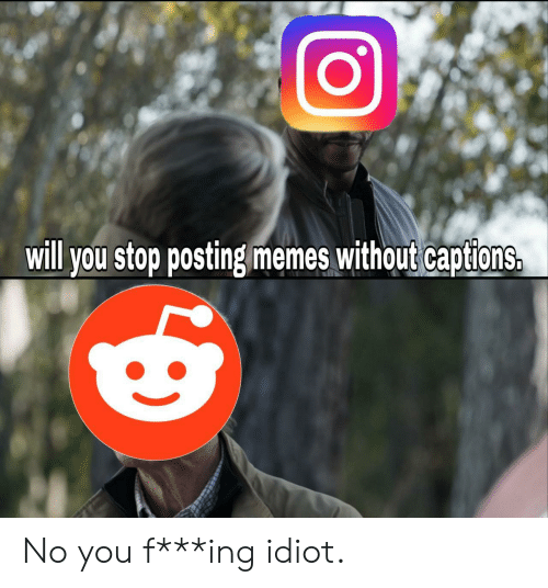 Captions: will you stop posting memes without captions. No you f***ing idiot.