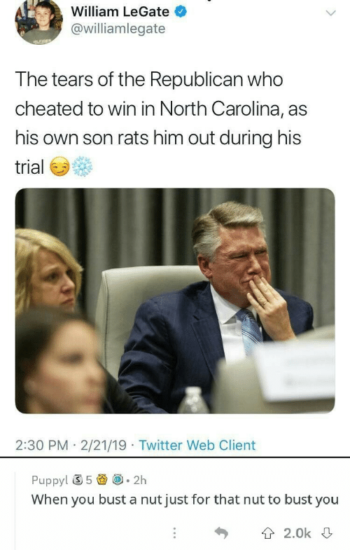 Twitter, North Carolina, and Puppy: William LeGate  @williamlegate  the Republican  T he tears of who  cheated to win in North Carolina, as  his own son rats him out during his  trial  2:30 PM 2/21/19 Twitter Web Client  Puppy! ⑤ 5圚@-2h  When you bust a nut just for that nut to bust you  T 2.0k