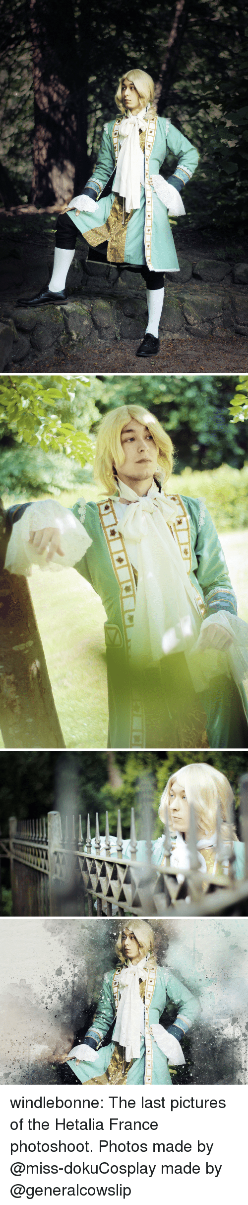 hetalia: windlebonne:  The last pictures of the Hetalia France photoshoot.Photos made by @miss-dokuCosplay made by @generalcowslip