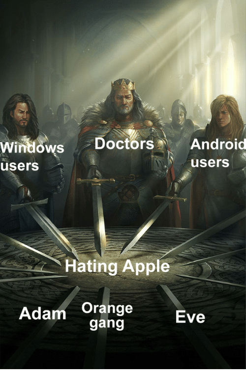 Android, Apple, and Windows: windows Doctors Android  users  users  Hating Apple  Adam Orange  Eve  gang