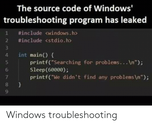 Windows: Windows troubleshooting