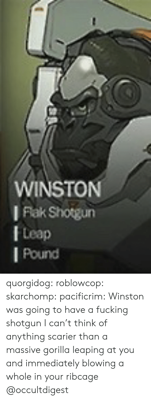 Fucking, Tumblr, and Blog: WINSTON  I Flak Shogun  Leap  l Pound quorgidog:  roblowcop:  skarchomp:  pacificrim: Winston was going to have a fucking shotgun I can't think of anything scarier than a massive gorilla leaping at you and immediately blowing a whole in your ribcage  @occultdigest