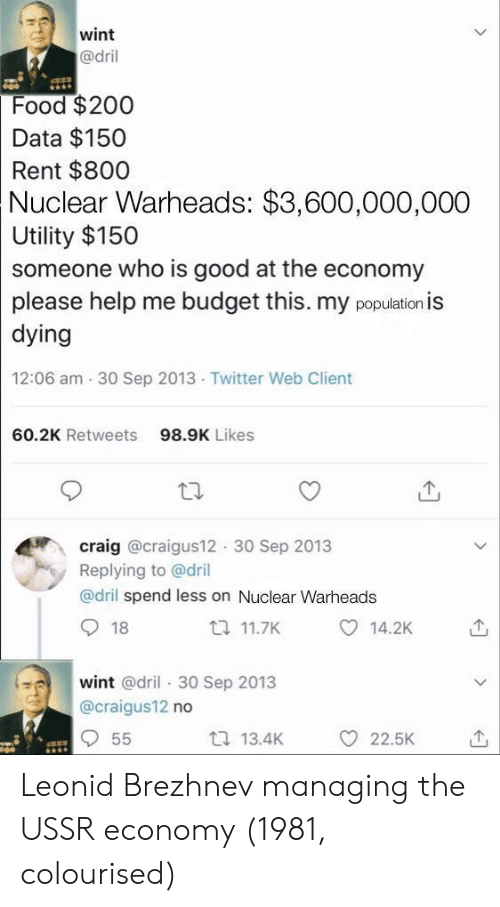 Food, Twitter, and Budget: wint  @dril  Food $200  Data $150  Rent $800  Nuclear  Warheads: $3,600,000,000  Utility $150  someone who is good at the economy  please help me budget this. my population is  dying  12:06 am 30 Sep 2013 Twitter Web Client  60.2K Retweets  98.9K Likes  craig @craigus12 30 Sep 2013  Replying to @dril  @dril spend less on Nuclear Warheads  18  t 11.7K  14.2K  wint @dril 30 Sep 2013  @craigus12 no  t 13.4K  O 22.5K Leonid Brezhnev managing the USSR economy (1981, colourised)