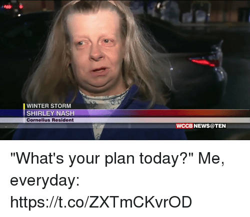 "News, Winter, and Today: WINTER STORM  SHIRLEY NASH  Cornelius Resident  WCCB NEWS@TEN ""What's your plan today?""  Me, everyday: https://t.co/ZXTmCKvrOD"