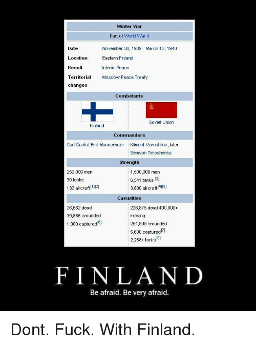 Winter, Date, and Fuck: Winter War  Date  Location  Result  Territorial  changes  Part of World War I  November 30, 1939 March 13, 1940  Eastern Finland  Interim Peace  Moscow Peace Treaty  Combatants  Soviet Union  Finland  Commanders  Carl Gustaf Emil Mannerheim  Kliment Voroshilov, later  Semyon Timoshenko  Strength  250,000 men  30 tanks  130 aircraft2]  1,500,000 men  6,541 tanks  3,800 aircraftP  131  Casualties  26,662 dead  39,886 wounded  1,000 captured  226,875 dead 400,000+  missing  264,908 wounded  5,600 capturedFl  2,268+ tanksB]  FINLAND  Be afraid. Be very afraid Dont. Fuck. With Finland.