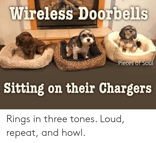 Repeat: Wireless Doorbells  Pieces of Soul  Sitting on their Chargers Rings in three tones. Loud, repeat, and howl.