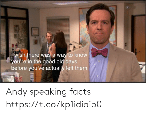Facts, Memes, and Good: wish there was a way to know  you're in the good old days  before you've actually left them. Andy speaking facts https://t.co/kp1idiaib0