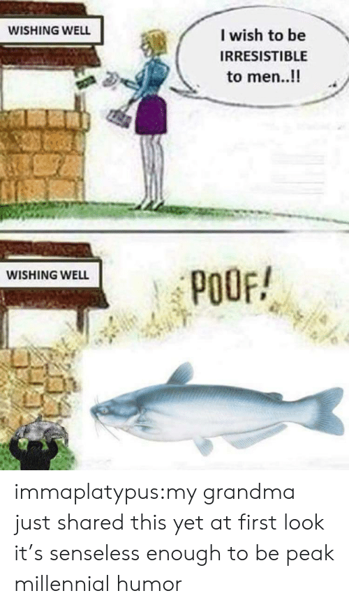 poof: WISHING WELL  I wish to be  IRRESISTIBLE  to men..!!  WISHING WELL  POOF! immaplatypus:my grandma just shared this yet at first look it's senseless enough to be peak millennial humor