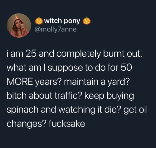 Bitch, Traffic, and Witch: witch pony  @molly7anne  iam 25 and completely burnt out.  what am I suppose to do for 50  MORE years? maintain a yard?  bitch about traffic? keep buying  spinach and watching it die? get oil  changes? fucksake